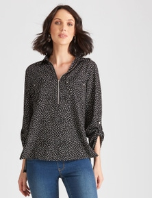 Katies Knit And Woven Zip Top