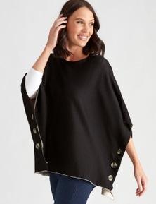 Katies Knit Button Poncho