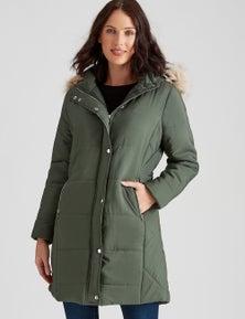 Katies Longline Hooded Puffer Jacket