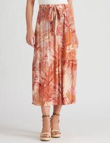 Katies Woven Belted Midi Skirt