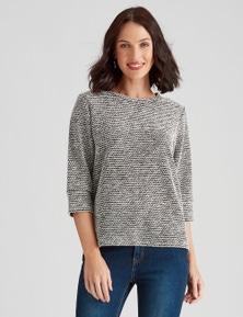 Katies Braclet Sleeve Texture Knit Top