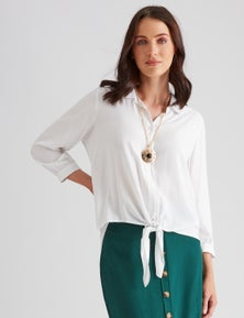 Katies Cotton Linen Blend Tie Front Shirt