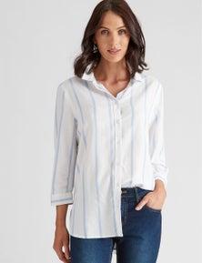 Katies Linen Blend Stripe Pocket Shirt
