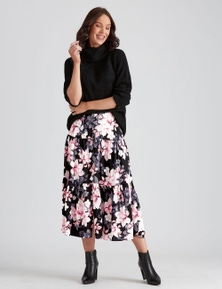 Katies Woven Button Front Tiered Skirt