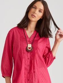 Katies Cotton Clipped Dot Pintuck Shirt