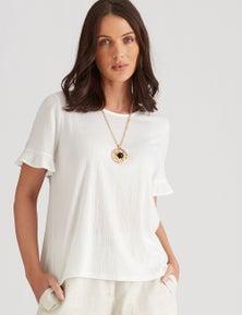 Katies Cotton Blend Knit Textured Button Back Top