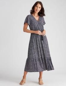 Katies Woven Faux Wrap Midi Dress
