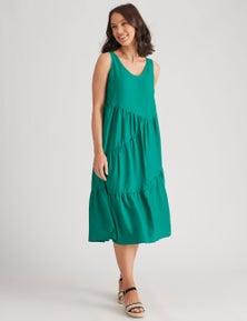 Katies Linen Blend Tiered Maxi Dress