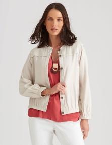 Katies Linen Blend Button Front Bomber Jacket