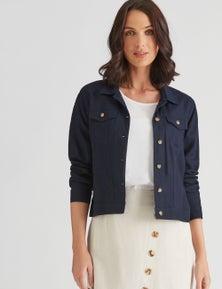 Katies Linen Blend Denim Style Jacket