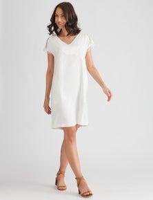 Katies Linen Blend Lace Trim Shift Dress