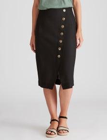 Katies Linen Blend Faux Wrap Skirt