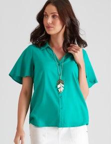 Katies Linen Blend Flutter Sleeve Shirt