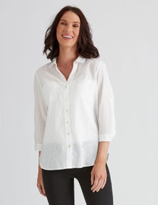 Katies Cotton Clipped Dot Shirt