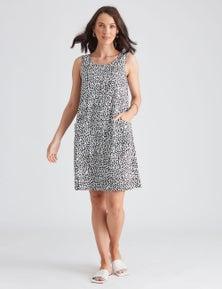 Katies Linen Blend Pocket Shift Dress