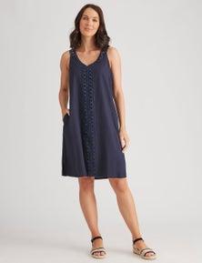 Katies Linen Blend Lace Trim Midi Dress