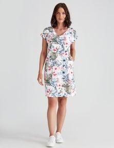 Katies Linen Blend Printed Shift Dress