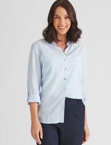 Katies Linen Blend Stripe Shirt