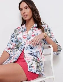 Katies Linen Blend Printed Shirt