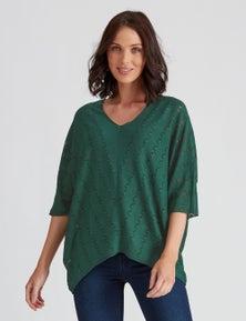 Katies Elbow Sleeve Pointelle Knitwear