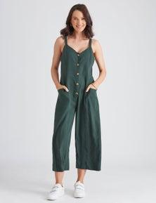 Katies Linen Blend Crop Jumpsuit