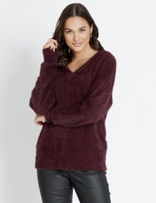 Katies Long Sleeve V Neck Hairy Knit Jumper