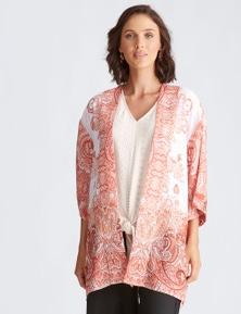Katies Woven Banded Trim Kimono