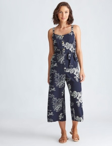 Katies Woven Button Front Jumpsuit
