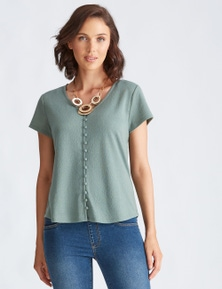 Katies Knit Textured Button Front Top