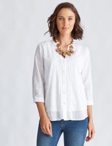 Katies Cotton Blend Pintuck Shirt