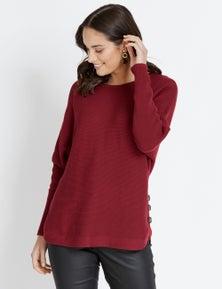 Katies Long Sleeve Rib Button Knit Jumper