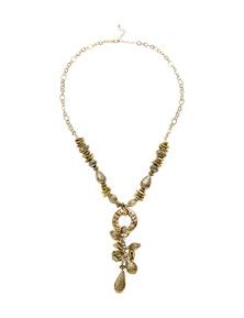 Katies Antique Gold Beaded Larriet Necklace