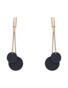 Katies Double Disc Black & Gold Earrings
