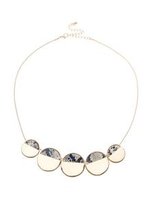 Katies Snakeskin Disc Short Necklace