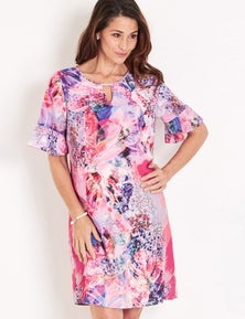 Maggie T Short Sleeve  Ruffle Sleeve Dress