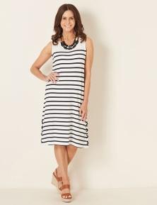 Millers Eyelet Trim Stripe Midi Dress