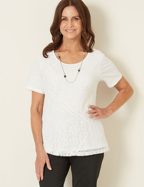 Millers Short Sleeve Lace Panel Top