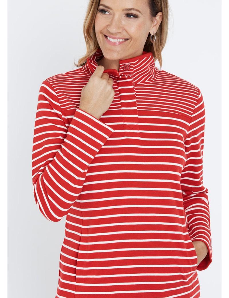 Millers Long Sleeve Stripe Half Placket Leisure Top