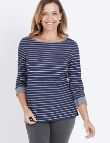 3/4 SLEEVE ROLL UP STRIPE TOP