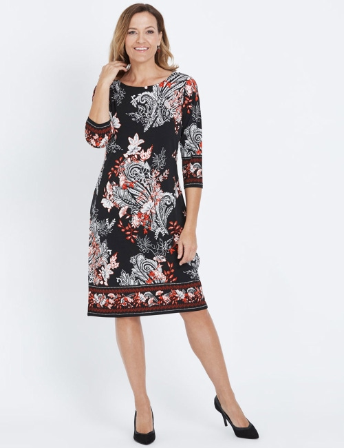 fe983af8c19 3/4 SLEEVE BORDER PRINT… ITY MIDI DRESS
