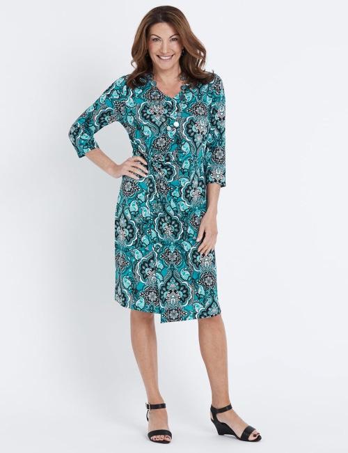 Millers 3/4 Sleeve Side Ruched V… Neck Print Midi Dress