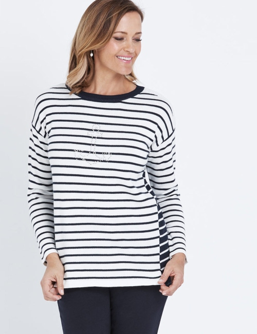 Millers Long Sleeve Anchor And Stripe… Jumper