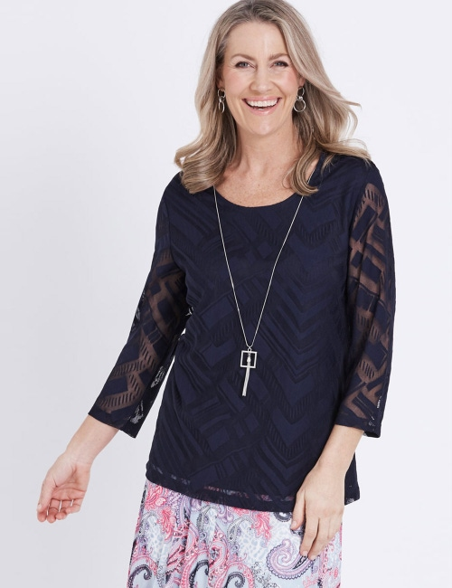 1845cee4a1 3/4 SLEEVE MESH TOP W NECKLACE