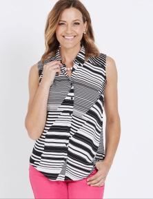 Millers Sleeveless Shirring Detail Collared Shirt