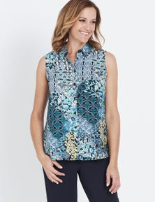 Millers Sleeveless Button Through Collared Shirt