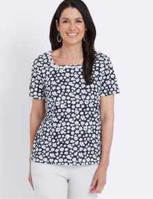 Millers Short Sleeve Square Neck Trim Detail Top