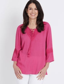 3/4 SLEEVE CRINKLE LACE TRIM BLOUSE