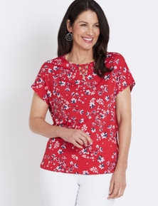 Millers Extended Sleeve Print Top With Lattice Neck