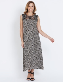 Millers Sleeveless Crochet Lace Trim Maxi Dress