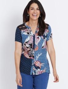 Millers Cap Sleeve Lace Yoke Shirt